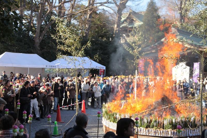 白旗-神社---1月どんど焼き2